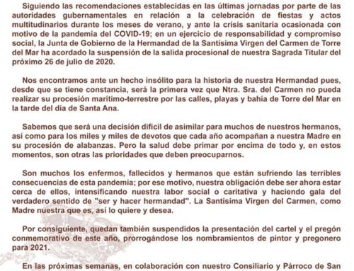 SUSPENSIÓN SALIDA PROCESIONAL 2020
