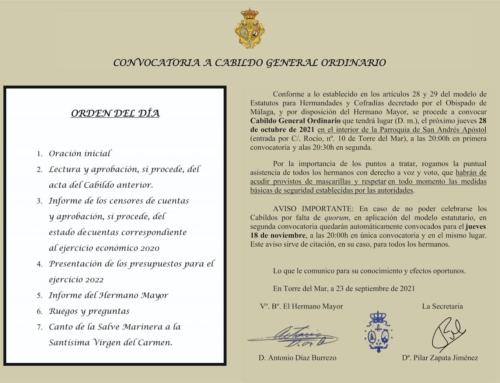 CONVOCATORIA AL CABILDO GENERAL ORDINARIO